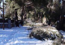Calle de Boadilla del Monte afectada por la borrasca Filomena
